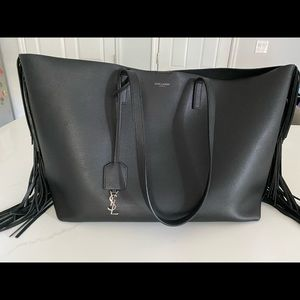 YSL Saint Laurent Large Black Leather Fringe Tote